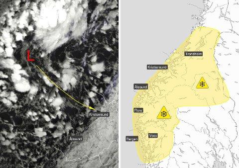 POLART LAVTRYKK: Her kommer et polart lavtrykk innover mot Norge. Dette værfenomenet fører ofte med seg intenst bygevær, gjerne i form av snø.