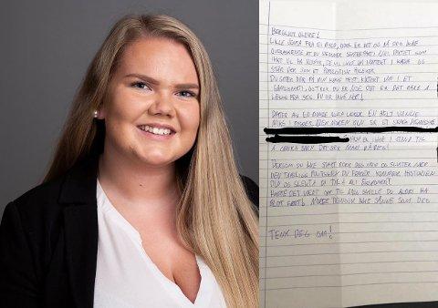 OVER STREKEN: Bergljot Oldre (22) mottok dette trussel- og hetsbrevet i sin postkasse onsdag. Saken er anmeldt.