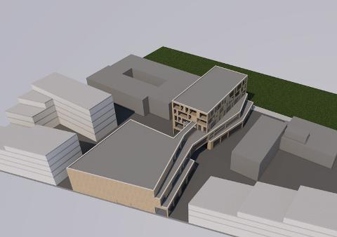 En skisse av Kulturkvartalet fra mulighetsstudien som ble gjort i 2018. Hvordan bygget til slutt blir vil trolig legges frem i slutten av februar.