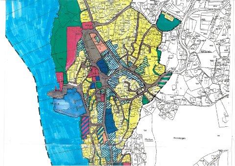 Kart 1 av 3: Den lokale forbudssonen tilsvarer de fargelagte planområdene for reguleringsplanen «Antikvarisk spesialområdet for Drøbak». Området er merket innenfor tjukk sort stiplet linje i kartene.