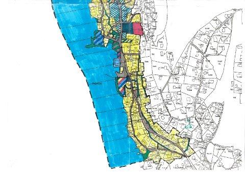 Kasrt 3 av 3: Den lokale forbudssonen tilsvarer de fargelagte planområdene for reguleringsplanen «Antikvarisk spesialområdet for Drøbak». Området er merket innenfor tjukk sort stiplet linje i kartene