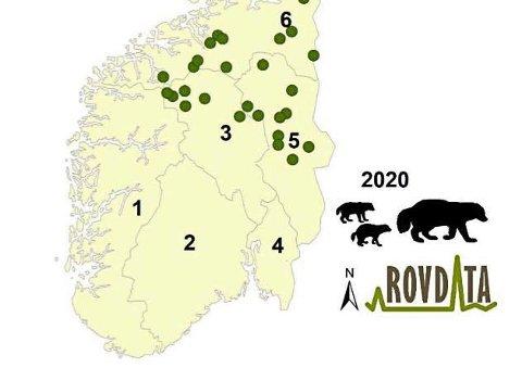 HER YNGLER JERVEN: Her er den delen av jerveynglingene som befinner seg i Innlandet, sørlige deler av Trøndelag og tilgrensende områder mot vest.
