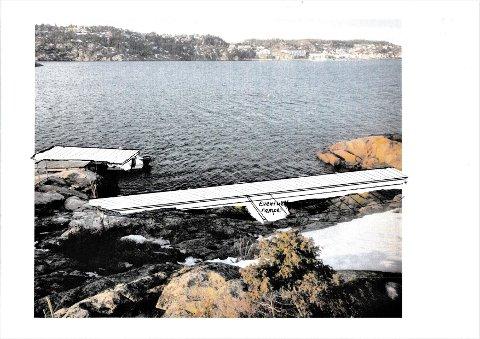 """Denne skissen viser hvordan Kystlaget Øster Riisøer ønsker å tilrettelegge for asløp med større og mindre båter ved """"Stakebua"""". I tillegg  er det planer om å lage en platting ved bua. Alle offentlige instanser er positive, men  selv om snart ett år er gått, har ikke fylkeskommunen besvart henvendelsen."""