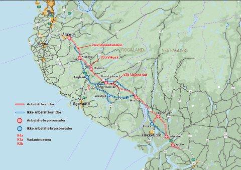 KART: Kart som viser ulike traseer for nye E39 fra Lyngdal til Ålgård.