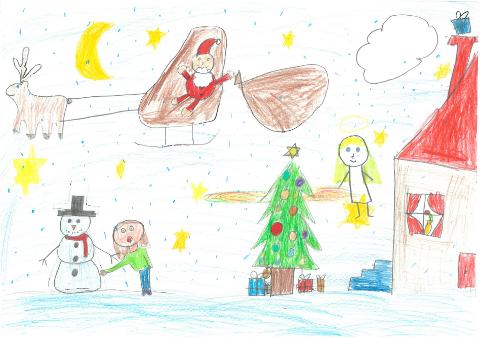 JULETEGNING: Slik så den ene tegningen som Agder fikk innsendt i fjor ut. Hva vil du tegne i år?