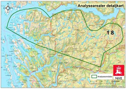 I vår region er det i hovudsak store areal i Masfjorden og Gulen som så langt i arbeidet er peika ut som interessante. Mellom anna er store delar av Stølsheimen vurdert som aktuelt for utbygging av vindkraft. Illustrasjon: NVE