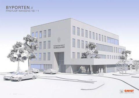 """Fylkesmannen skal inn i det nye bygget """"Byporten"""". Det skal stå ferdig ved Aspmyra i 2020."""