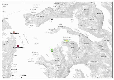 Kart over omsøkt plassering av oppdrettsanlegget ved Bergkråa markert med grønne hjørne- og midtpunkt til de flytende delene av anlegget. Kart hentet fra ArcMap.