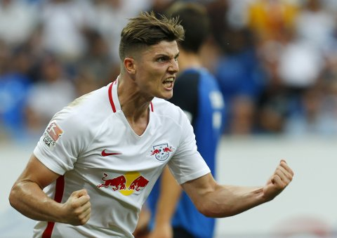 Football Soccer - TSG 1899 Hoffenheim vs RB Leipzig - German Bundesliga - Wirsol Rhein-Neckar-Arena, Sinsheim, Germany - 28/08/16. RB Leipzig's Marcel Sabitzer celebrates scoring a goal. REUTERS/Ralph Orlowski  DFL RULES TO LIMIT THE ONLINE USAGE DURING MATCH TIME TO 15 PICTURES PER GAME. IMAGE SEQUENCES TO SIMULATE VIDEO IS NOT ALLOWED AT ANY TIME. FOR FURTHER QUERIES PLEASE CONTACT DFL DIRECTLY AT + 49 69 650050.