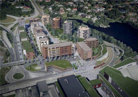 De 300 nye leilighetene vil ligge så nært Lagunen at beboerne nærmest kan gå i tøfler over til storsenteret (nederst) for å kjøpe avis og morgenkaffe. Bare bybanestoppet skiller de to adressene.
