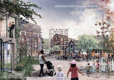 En gang i fremtiden: Godsområdet i Nybyen rundt den gamle godsterminalbygningen som et viktig byrom.