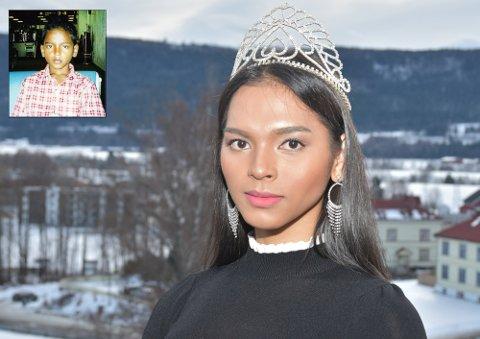 VIL VINNE: Eirin Grinde Tunheim (26) fra Solbergelva kjemper om å bli Miss Norway i 2019. Innfelt bilde da hun var en gutt på 11 år.