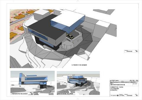 Slik ser skissen for hvordan skolen er planlagt utbygget. Dette skal stå ferdig i 2019.