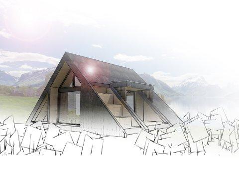 Her er hytta som vann arkitektkonkurransen. Teikna av Rojo Arkitekter i Trondheim.