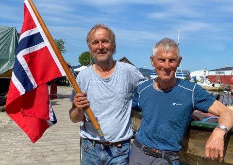 Bjørn Angell-Jacobsen (t.v.) og Kolbjørn Hovland rodde og segla frå Florø til Bergen på 4 dagar. – Seglinga over alle fjordane med nordavinden i ryggen var ei utruleg oppleving!