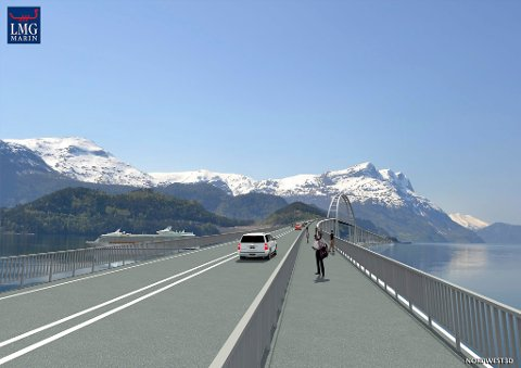 TIDLEG SKISSE: Biletet er ei tidleg skisse av LMG Marin som syner korleis brua kan bli sjåande ut. No har Nordfjordbrua AS lyst ut ein tilbodskonkurranse for å få inn fleire forslag til brukonsept.