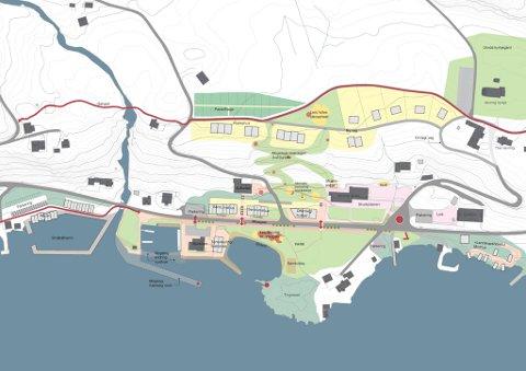 PLANSKISSE: Innbyggarane har lagt framtidige planar for korleis Vevring skal sjå ut.