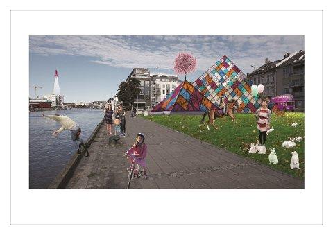FARGERIKT: Et fargerikt klatretårn, masse dyr og en rosa buss hører med i en ordentlig by. Og kanskje burde Fredrikstad fått sin egen romstasjon, også? Tegning: Griff Arkitektur AS