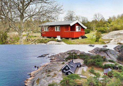 Dette er distriktets billigste (øverst) og dyreste (nederst) hytte til salgs nå. Rødmalt, rimelig idyll på Spjær, eller svabergluksus på Hankø.