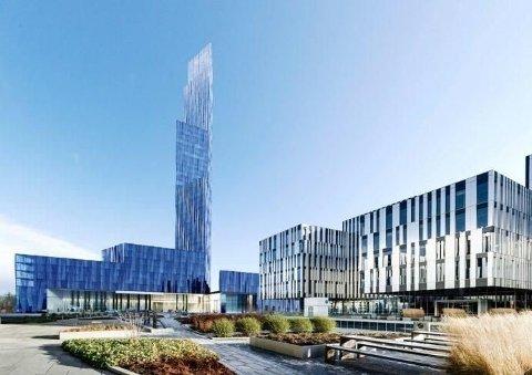 ENORMT: Slik ser tegningene av det det såkalte Røkke-tårnet ut. Skyskraperen som er tegnet inn er godt over 200 meter vil i tilfelle bli Nordens høyeste bygning.