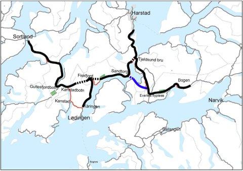 Ordførerne fra Narvik, Sortland, Vestvågøy og Vågan mener det er en alvorlig feilprioritering å utsette planleggingen av en ny kryssing av Tjeldsundet (blå strek).