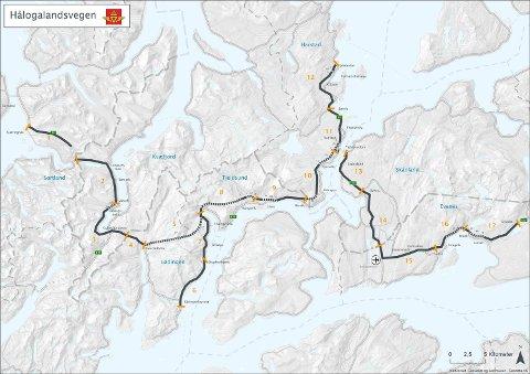 Prosjektet «Hålogalandsveien» strekker seg over 150 kilometer veg gjennom syv kommuner og to fylkeskommuner. Kostnaden for prosjektet er estimert til 12,9 milliarder kroner og kan stå ferdig i 2025 dersom alle planer følges.