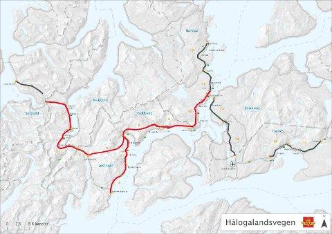 HÅLOGALANDSVEIEN: Veien som er markert med rødt, er der Regjeringen ønsker å bruke penger på Hålogalandsveien.