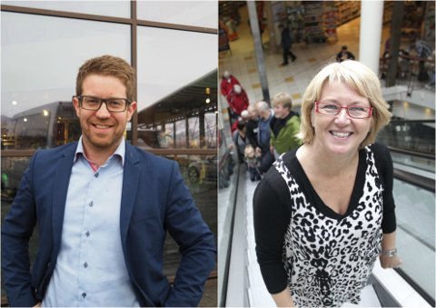 FORNØYDE: Senterleder for Amfi Narvik, Helge Edvardsen, og senterleder for Narvik Storsenter, Kirsten Nystrand. Arkivfoto.