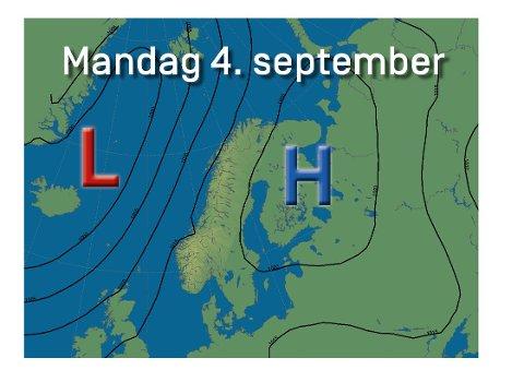 Prognosene viser et høytrykk komme mot Norge i neste uke, men det skal lite til før lavtrykket spiser seg innpå