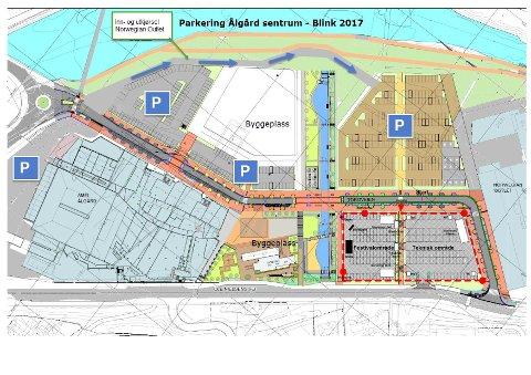 Parkeringsplasser i Ålgård sentrum.