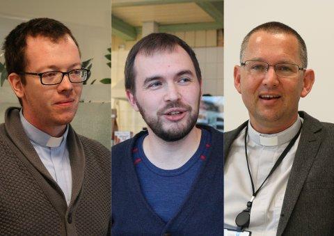 Bjarte Hetlebakke, Mikkel Eikill Jebe og Oddbjørn Stangeland er prestane i Gjesdal.