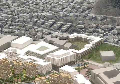 I 2013 så arkitektfirmaet CF Møller for seg at Ålgård sentrum i framtiden kan bli seende slik ut. Et forslag til nytt Åboas-kvartal ligger til venstre for den firkantede kuben som representerer nye Ålgård kirke helt til høyre i tegningen.