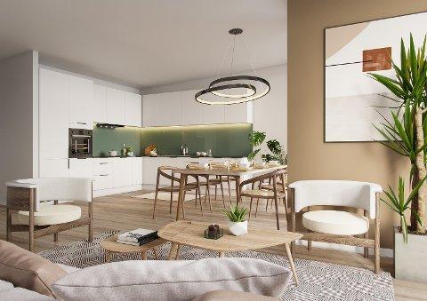 Gjesdal bolig har lagt ut dette bildet av hvordan det kan se ut innvendig i de nye rekkehusene.