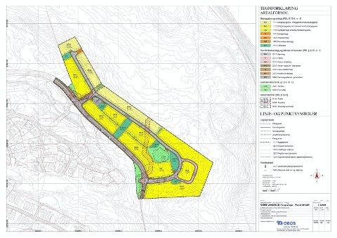 NYTT BOLIGOMRÅDE: Dette er reguleringsplanen for Nedre Langerud, som blir liggende innerst i Tiurvegen/Skjønningsengvegen. Langerudberget borettslag i Tiurvegen ligger nede til venstre i kartet.