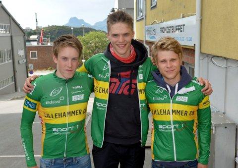JUNIORER: Solid innsats av Lillehammer CKs juniorer i temporittet. Fra venstre Ivar Skaarseth, Carl-Martin Sandvold og Sebastian Dreyer Heldahl.