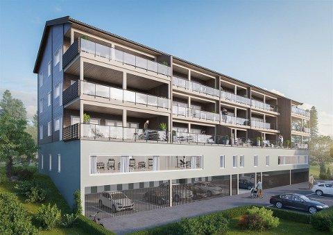 SLIK: Dette er illustrasjonen av det nye leilighetsbygget som skal oppføres i Steinsmoen ved Segalstad Bru. I tillegg til 15 leiligheter er det planlagt treningssenter i bygningen.
