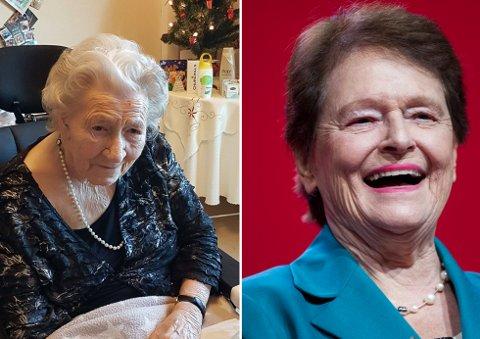 100 ÅR: Olga Marthinsen feiret lørdag 100-årsdagen sin. Hun har vært medlem i Jevnaker Arbeiderparti i 82 år, og fikk hilsen fra selveste Gro Harlem Brundtland.