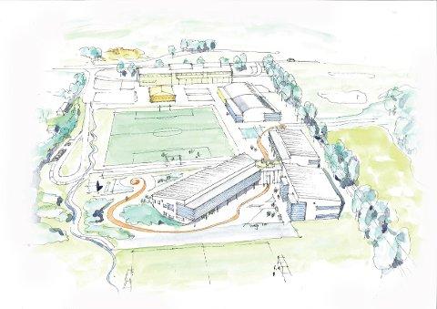 Slik blir nye Idd skole seende ut. Den nåværende ungdomsskolen ligger øverst i bildet, mens barneskolen bygges langsmed og syd for eksisterende kunstgressbane.