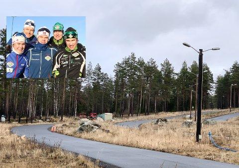 SNØMANGEL: TFLs skitalenter venter på kulde og snø, men må foreløpig se langt etter snøen i Tistedalen Skianlegg.