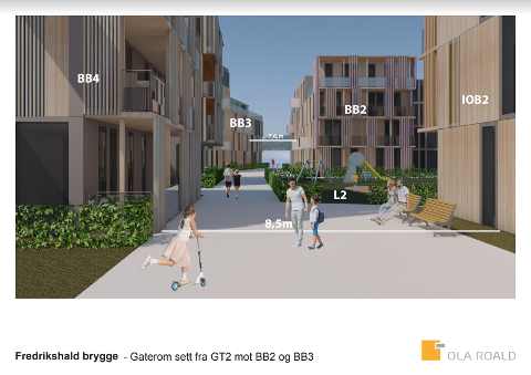 Illustrasjonen viser hvordan utbyggerne ser for seg at det kan bli på Fredrikshald Brygge på Tyska.