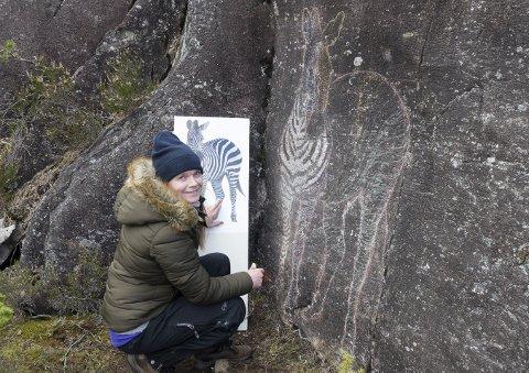 Direkte fra savannen: Guro Øverbye har laget bergkunst. En zebra dukker frem fra laven som dekker fjellet. Alle foto: Mette Bleken