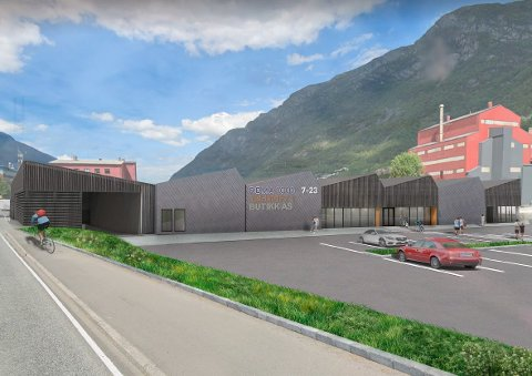 Illustrasjon av den nye Rema 1000-butikken som kjem på Smelteverkstomta.