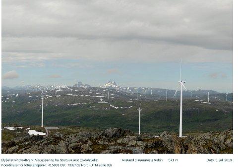 STORE: Eoulus Vind Norge AS vil bygge 80-110 vindmøller vest for toppen av Øyfjellet og kloss i grensen til Lomsdal-Visten nasjonalpark.