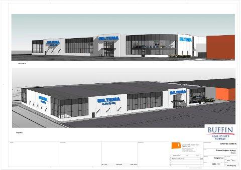 Slik kommer den nye Biltema-butikken i Mosjøen til å fortone seg.