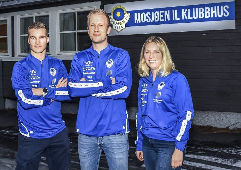 NYE TRENERE: De nye trenerne i MIL Fotball. Fra venstre Joakim Haugen Finsaas, Markus Brandth og Cathrine Løvli. Foto: Snorre Nicolaisen