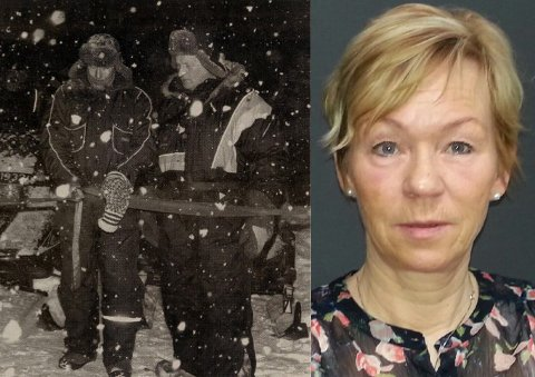 LENSMANNSLØYPA: Her åpner datidens lensmann, Roald Pleym, og Bjarne Mietinen lensmannsløypa. Evy Pleym er Roald Pleym sin datter.