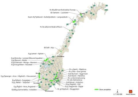 IKKE I FINNMARK: Her er en oversikt over store vegprosjekter som Statens vegvesen vil prioritere – ingen i Finnmark. Kart: Statens vegvesen