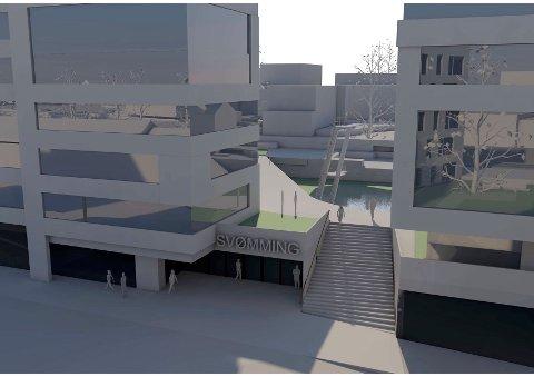 INNE OG UTE: Ein av dei største eigedomsaktørane på Bryne ønskjer å byggja eit stort badeanlegg, med det offentlege med på laget.