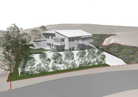 HANEKLEIVA 171: Konseptskisse av omsorgsleilighetene som Holmestrand Boligstiftelse og Kms Arkitekter har søkt om å oppføre. Da arkitektfirmaet presenterte skissen på sin Facebook-side i mai i fjor, skrev de at byggestart ville bli i 2020.  SKISSE: Kms