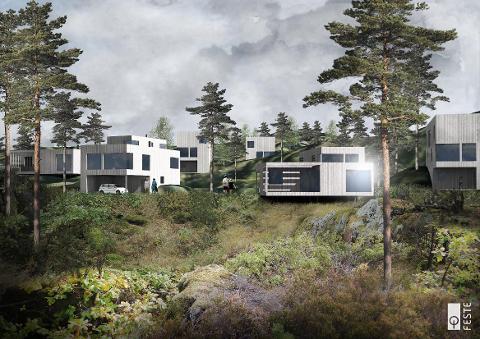 HELÅRSBOLIG: Dette er en foreløpig illustrasjon som arkitektfirmaet Feste har laget av hvordan helårsboligene på Langøy kan bli seende ut. Klikk eller sveip for å se kart over områdene.